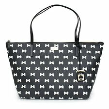 Kate Spade Sophie Brightwater Drive Tote Black Cream Handbag Bow Bag White New