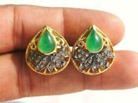 Victorian 1.03 Ct Rose Cut Diamond Emerald 925% Sterling Silver Earring 1.0 inch