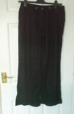 "Papaya Black Linen Blend Straight Leg Trousers Size 10 W32"" L32"""