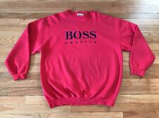 Vintage BOSS AMERICA Hugo Mens Red Pullover Crewneck Sweatshirt Spellout XL