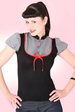 SugarShock Heidi Gingham Karo Blusen Pin Up retro Puffärmel Rockabilly T-Shirt