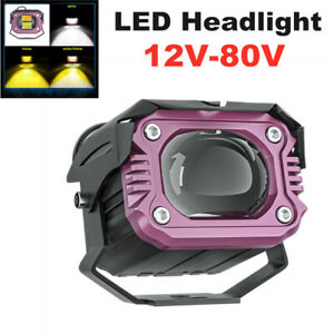 20W 12V-80V Motorcycle LED Headlight Universal Fog Light Lamp High and Low Beam