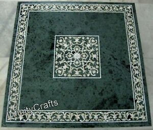 36 Inches Marble Dining Table Top Floral Pattern Inlaid Hallway Table for Home