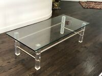 Mid Century Lucite & Metal Frame  Rectanglular Glass Coffee Table