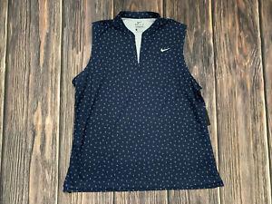 Women's Nike Dri Fit Blue Tennis Golf Sleeveless Tank Top Shirt Pullover Sz XL