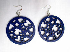 NEW DEEP NAVY BLUE COLOR STAR STARS DESIGN PAINTED REAL WOOD DANGLING EARRINGS