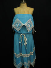 Vintage Turquoise Boho Mexican Lace Embroidered Cotton Dress XL