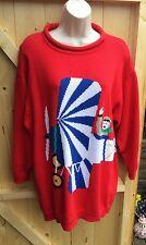 Vintage Cotton Novelty Sweater(Jumper)16-18 Aeroplane Pilot Flying Machine