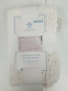 BRAND NEW Simply Shabby Chic White CROCHET TRIM Linen Blend Standard Pillow Sham