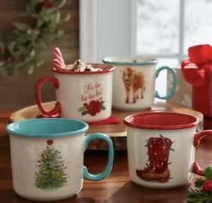 The Pioneer Woman HOLIDAY MEDLEY Christmas 16 oz Camper  Mugs set of 4 NEW