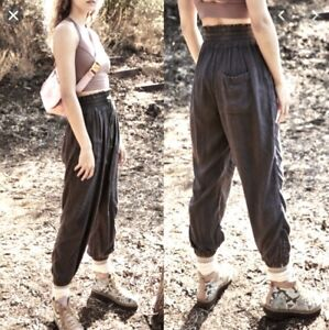 Free People Movement Pant Jogger Halfzies Gray Slouchy Stretch Waist Zip L NWT