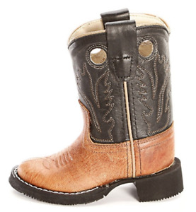 Old West Round Toe Cowboy Boots Boys Girls Kids Round Rubber Tan CW2553 Size 4.5