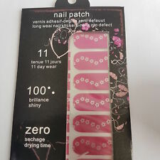 New 16 Hot Pink Nail Patch Foils White Daisy Design, Floral Nail Art Design