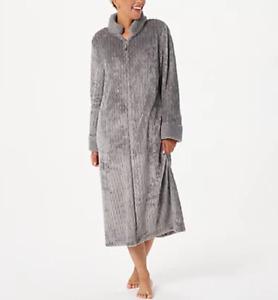 Stan Herman - Silky Shag Plush Petite or Regular Length Zip-Up Robe - Graphite