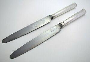 """Rare 1792 George III Georgian 11"""" Sterling Silver Antique Table/Dinner Knives RT"""