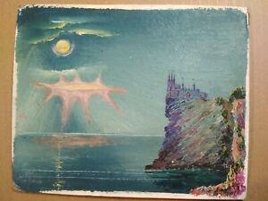 UFOs over Crimea Art - Alien Spaceship Russian USSR Original Oil Painting 1980
