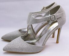 Zapatos de Tacón Elegantes Novia Tacones Altos Plata con Brillo F-41