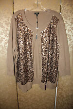 Talbots Woman NWT Brown Sequin Cotton Rayon Sweater Cardigan 3X