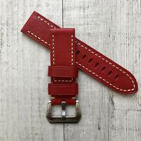 24mm Rouge Cuir Italien Bracelet de Montre Argent Brossé Boucle pour Panerai Pam