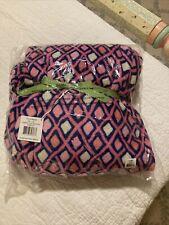 New Nwt Vera Bradley Throw Blanket Fleece Katalina Pink Diamonds Navy Blue $49
