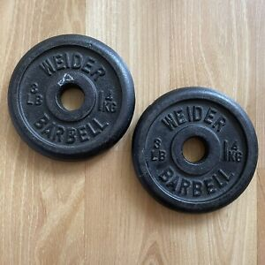 """Lot of Two (2) 3lb Vintage Weider Barbell Standard 1"""" Weight Plates Iron"""
