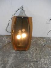 Awesome Vintage 1960's MCM Walnut Ribbon & Smoke Lucite Hanging Swag Lamp