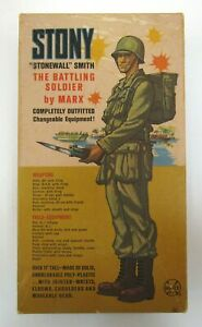 "Vintage Marx STONY STONEWALL SMITH 12"" Soldier Figure w/Accessories + Box 1960s"