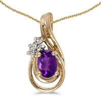 "10k Yellow Gold Oval Amethyst And Diamond Teardrop Pendant with 16"" Chain"