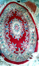 "NEW 100%  Wool Chinese Rug Carpet RED  4""x 2.6' Oval Roses Floral Pattern"