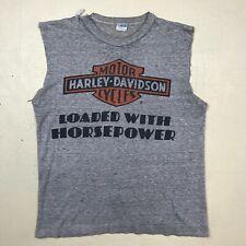 1970's vintage HARLEY DAVIDSON t-shirt tank sleeveless Champion blue bar SMALL