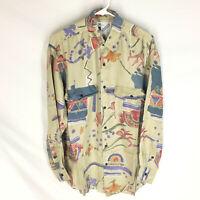GOOUCH Mens Small Long Sleeve Shirt Silk Button Up 90s Abstract Art VTG NEW