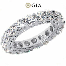 5.12 ct Round Diamond Ring Platinum Eternity Band E-F Vs Gia 17 X 0.30 ct size 6