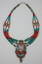 Nepal Necklace Coral & Turquoise Beaded Inlaid Nepal Silver Medallion USA SELLER