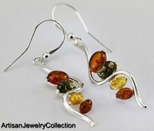 BALTIC AMBER EARRINGS 925 STERLING SILVER ARTISAN JEWELRY COLLECTION S044