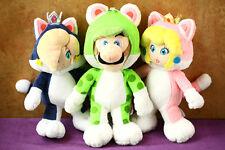 3pcs Super Mario Bros Green Cat Luigi & Mario Princess PEACH Rozetta Plush Doll