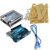 Genuine Arduino Uno R3 USB ATmega328 Original Board+Acrylic Case+Cable