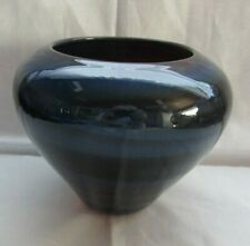 MURANO ART GLASS  BOWL SHAPE VASE BLACK-RUBY RED MULTI COLORS SIGNED DATED