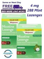 2 Pack Walgreens Nicotine Lozenges 4 MG 144 Ct. Mint Compare Nicorette Exp 09/21