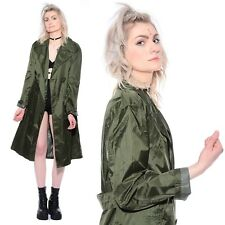 Vtg 70s Army Military Rubber Coated Raincoat Trench Coat Rain Jacket Mac Slicker