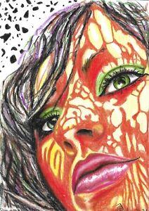 original drawing A4 309PV art samovar Mixed Media female portrait stylization