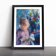 More details for young woman sewing by pierre-auguste renoir wall art framed print picture