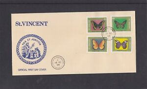 St Vincent 1989 Butterflies on pair First Day Cover FDC Kingston fdi h/s