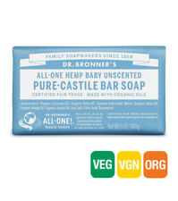 10 X 140g Dr Bronners Magic Soaps Pure Castile Bar Soap - Hemp Baby Unscented