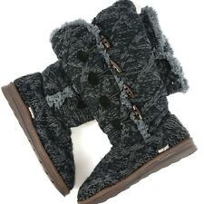 MUK LUKS Womens Felicity Boots Shoes Slippers Black Knit Faux Fur Size 10