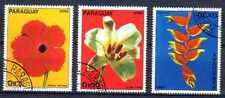 Flore - Fleurs Paraguay (52) série complète de 3 timbres oblitérés