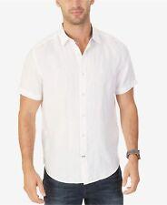 $99 NAUTICA Men CLASSIC-FIT WHITE LINEN SHORT-SLEEVE LOGO BUTTON DRESS SHIRT XL