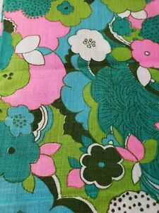 Vintage MCM MOD Serano Linen Crease Resistant Fabric 45X72 Green Schemed Flower