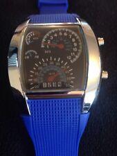 Reloj de pulsera Calidad BINARIO digital coche DASH BOARD tema sport LED Azul vendedor del Reino Unido