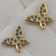 Lovely Nice Butterfly Blue Gems Jewelry Yellow Gold Filled Stud Earrings h2732
