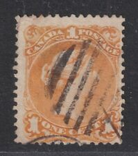 Canada SG 56a Scott 23 Used 1869 1¢ Orange-Yellow Large Queen SCV $300
